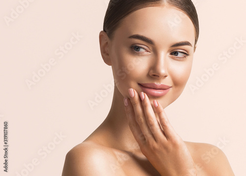 Woman beauty face healthy skin natural make up  - fototapety na wymiar