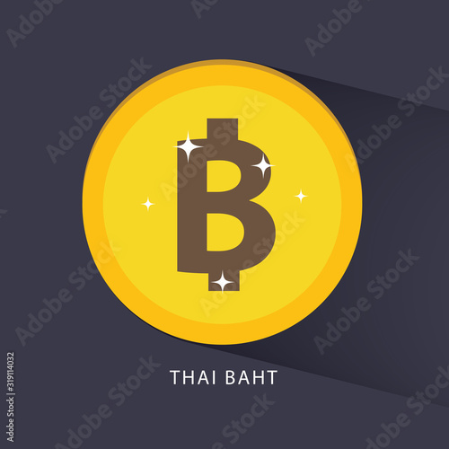 Slika na platnu Thai baht currency symbol golden coin