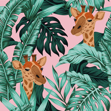Tropical Leaves Giraffe Seamless Pattern Pink Background
