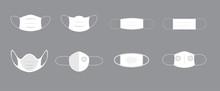 Face Pollution Mask Set Vector Minimal