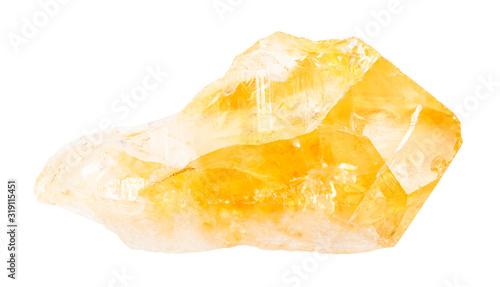 Valokuva rough citrine (yellow quartz) crystal isolated