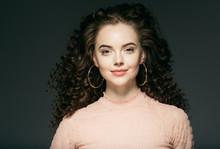 Curly Hair Woman Natural Make ...