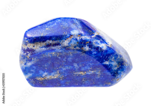 Fotografía pebble of Lapis lazuli (Lazurite) gem isolated