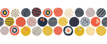Seamless Vector Border Colorful Circles. Blue Orange Yellow Dots With Doodle Texture Repeating Pattern. Abstract Hand Drawn Border For Banner, Fabric Trim, Ribbon, Kids Decor, Footer, Header, Divider