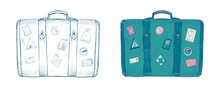 Retro Suitcase With Labels Hand Drawn Illustrations
