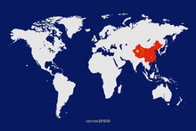World Map With Wuhan City Wher...