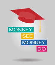 Mokey See, Monkey Do. An English Proverb With Graduate Hat Vector Banner.