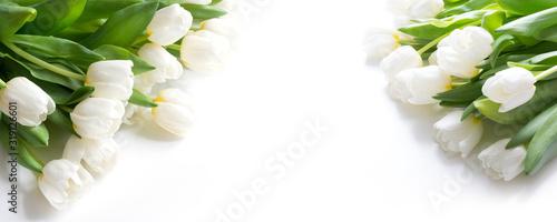 Fototapeta Bouquet of white tulip isolated on white background. Close up. obraz