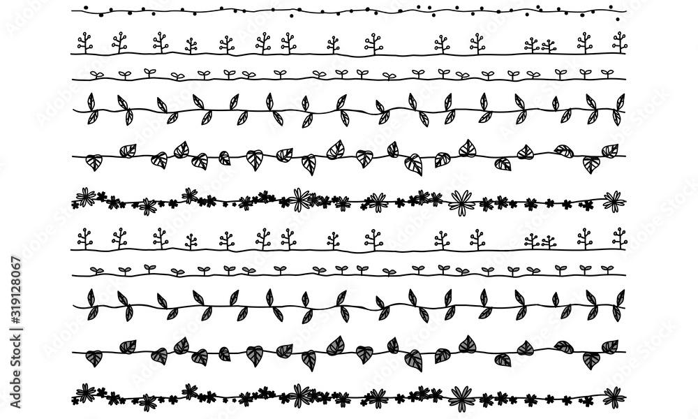 Fototapeta ライン 植物 葉(太) 黒