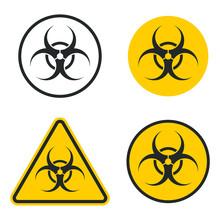 Biohazard Warning Safety Icon Shape. Biological Hazard Risk Logo Symbol. Contamination Epidemic Virus Danger Sign. Vector Illustration Image. Isolated On White Background.