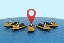 Group Jet Skis With Map Pin