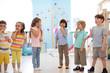 canvas print picture - preschool children group have fun and play game on indoor classes in kindergarten