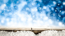 Desk Of Free Space And Snow De...