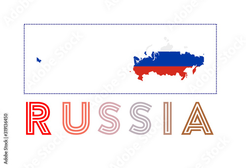 Fototapeta Russia Logo. Map of Russia with country name and flag. Trendy vector illustration. obraz na płótnie