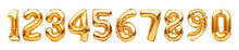 Set With Golden Foil Balloons In Shape Of Numbers Isolated On White Background. Numbers Yellow Gold Metallic Inflatable Balloons. Celebration, Education, Discount And Sale Or Birthday Concept