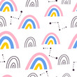 Seamless pattern with cartoon rainbows, decor elements. kid colorful vector, flat style. hand drawing. baby design for textile, print, fabric, wrapping paper