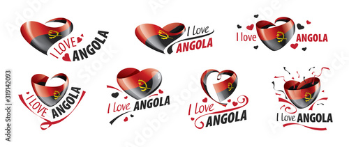 National flag of the Angola in the shape of a heart and the inscription I love Angola Wallpaper Mural