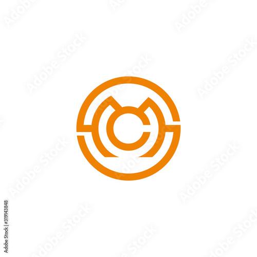 Photo letter s m c symbol circle geometric line logo vector