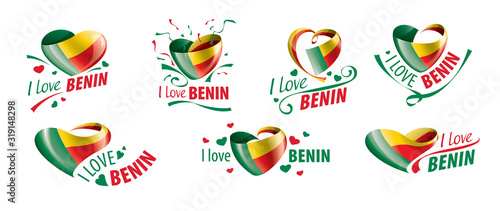 National flag of the Benin in the shape of a heart and the inscription I love Benin Canvas Print
