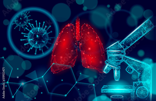 Obraz 3D human lungs medicine microscopic research concept. Respiratory virus infection cancer danger analysis. Therapy of tuberculosis hospital poster template vector illustration - fototapety do salonu