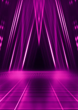 Abstract Dark Background With Purple Neon Glow. Neon Luminous Figure In The Center Of The Stage. Light Lines On A Dark Background, Smoke, Smog