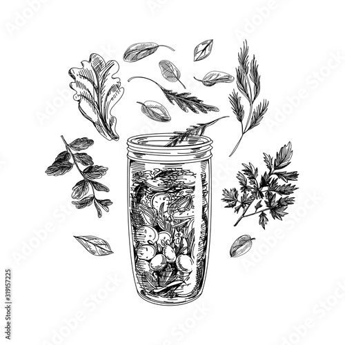 Jar with ingredients for smoothie making, hand drawn sketch vector illustration.