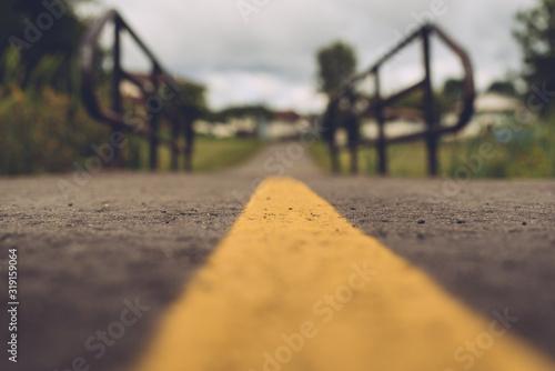 Fototapeta Surface Level Of Yellow Marking On Road obraz