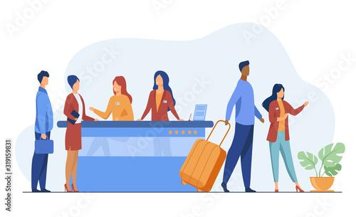 Obraz na plátně Friendly receptionists from hotel registration desk help client vector illustration