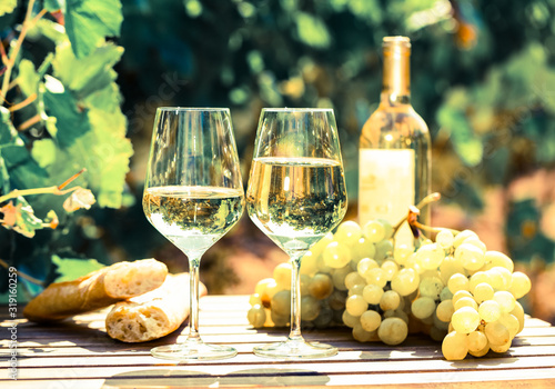 still life with glass of White wine grapes and bread on table in field Canvas Print