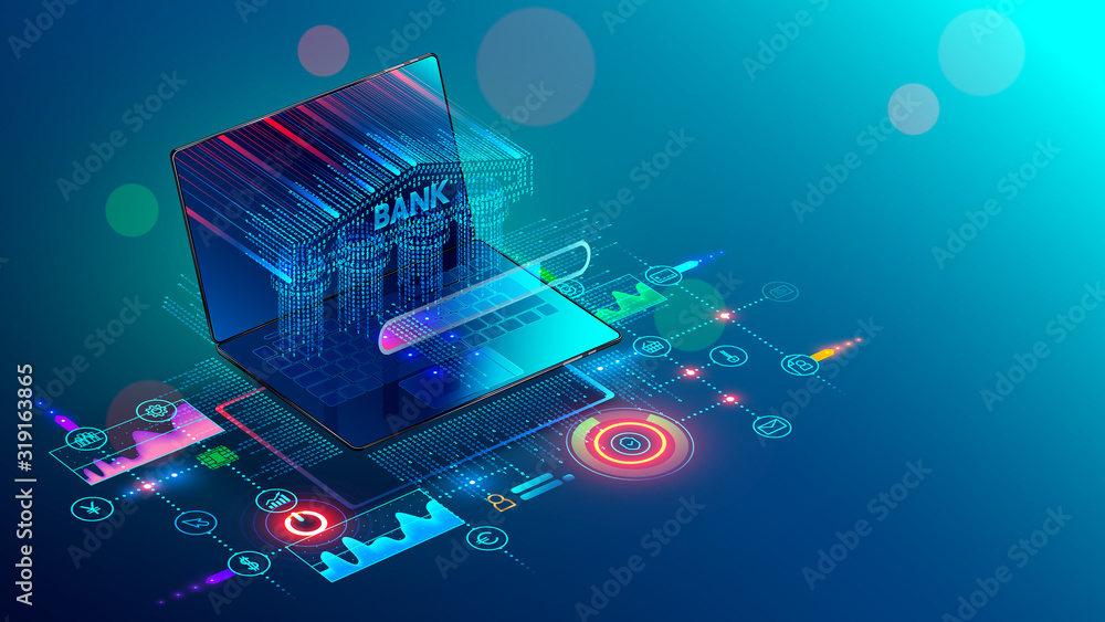 Fototapeta Online Internet banking 3d isometric banner. A Bank building with columns consisting of a digits matrix is shown on a laptop screen. Financial services available through the website on mobile devices.