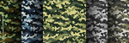 Fotografía Set of 5 seamless digital camouflage patterns