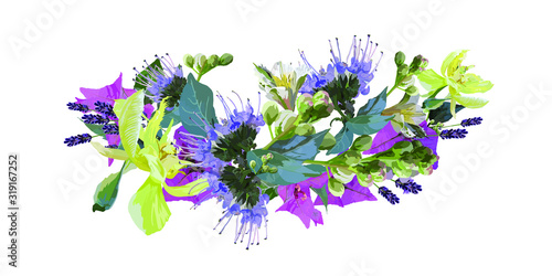 Romantic bouquet, composition with exotic plants. Vector with delicate blue flowers, pink bougainvilleas, white lilies isolated on a white background. For cards, prints, textiles
