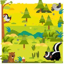Cartoon Forest With Wild Anima...