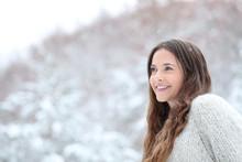 Happy Girl Watching Snow Falli...