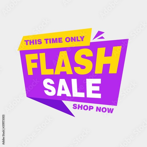 Fototapeta Colorful Flash Sale Banner Design with Yellow and Purple Callout Color Background Template Vector for advertising, social media, web banner obraz na płótnie