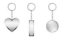 Keychains Set. Metal Round, Re...
