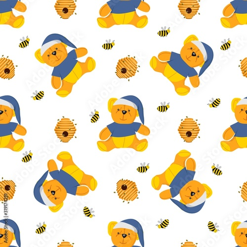 Fotografia, Obraz Winnie-the-pooh seamless pattern