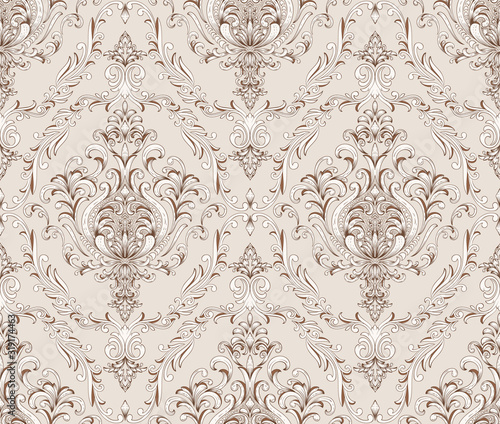 Cuadros en Lienzo Damask seamless pattern element