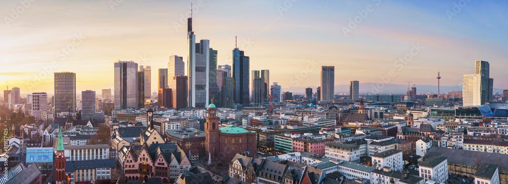 Fototapeta beautiful panorama of frankfurt am main in sunlight