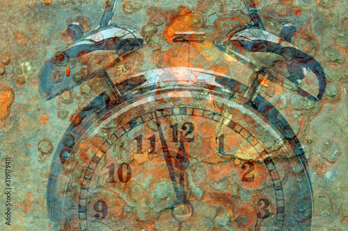 Photo Abstract Doomsday clock near to midnight