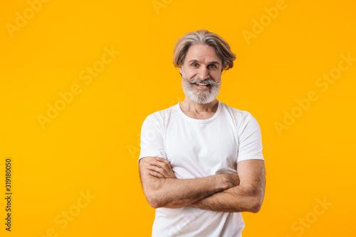 Fototapeta Positive elderly grey-haired bearded man obraz
