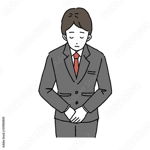 Fotografia お辞儀をする ビジネスマン 正面 イラスト