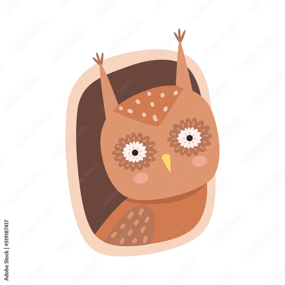 Fototapeta Funny Owl Peeped Out From Tree Hollow Vector Illustration