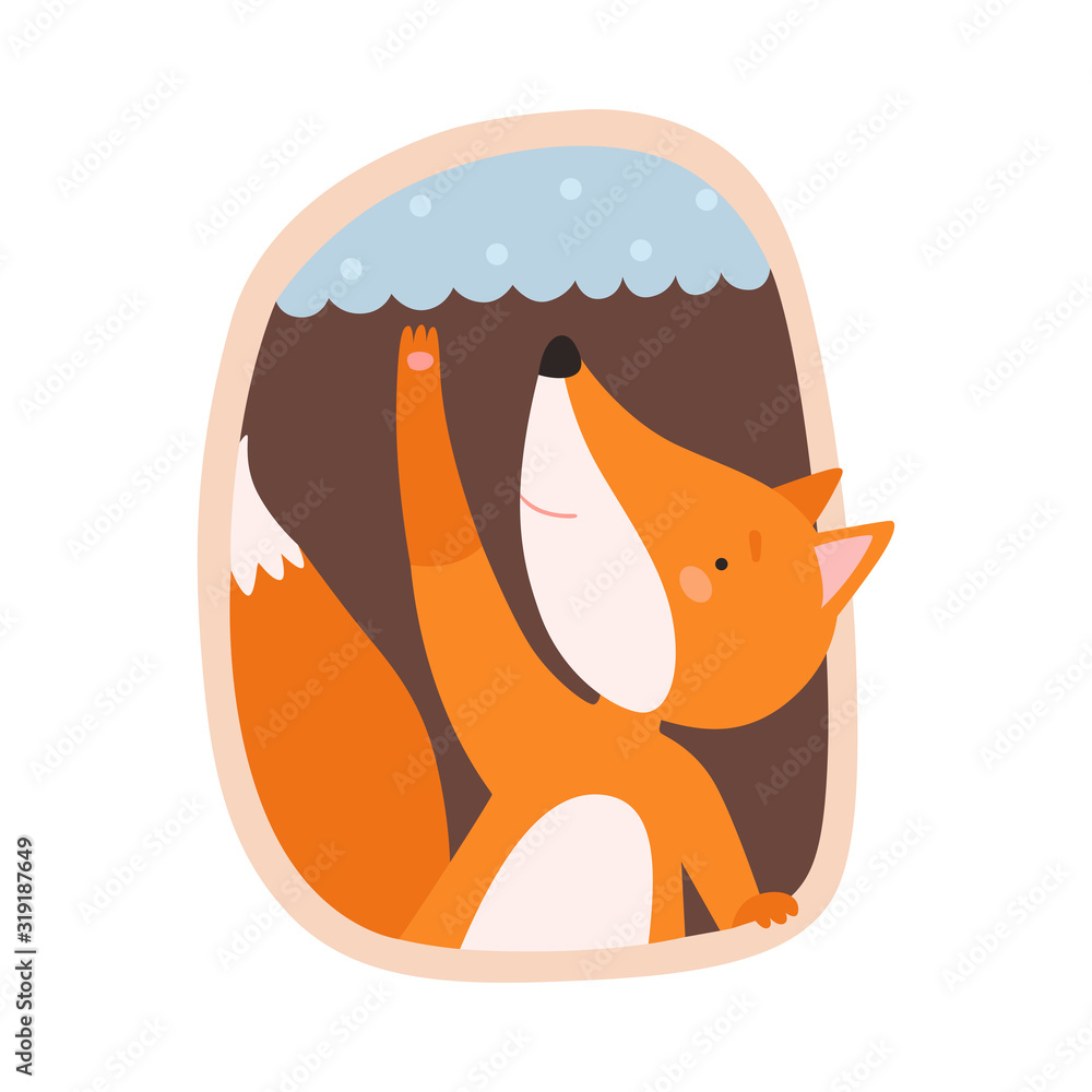 Fototapeta Funny Fox Peeped Out From Tree Hollow Vector Illustration
