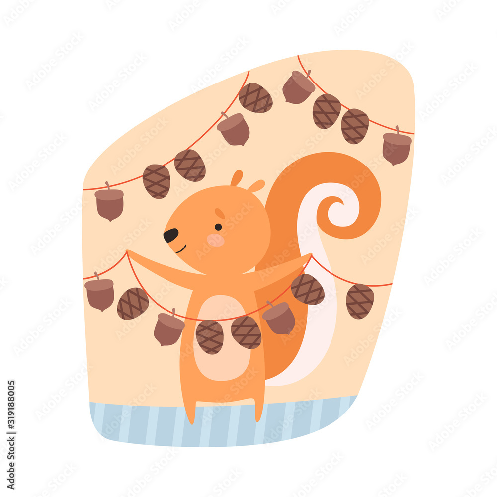 Fototapeta Squirrel Engaged in Hanging Acorns on the Rope Vector Illustration