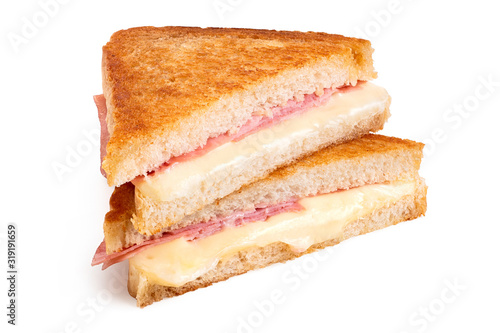 Obraz na plátně Cheese and ham toasted sandwich.