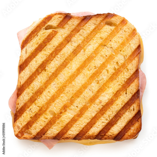 Fotografia Cheese and ham toasted sandwich.