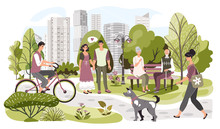 People In City Park, Weekend Leisure In Nature, Vector Illustration. Summer Park In Modern Metropolis, Woman Walking Dog, Man Riding Bicycle, Elderly Couple Sitting On Bench. Active Lifestyle In City