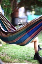 Low Section Of Woman With Red Wine Resting In Hammock At Park