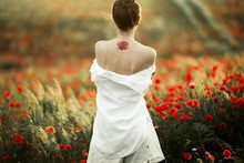 Woman Stands With Naked Back, ...